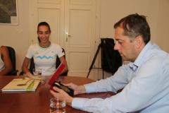 Sprejem Eve Pepelnak po odličnem rezultatu v troskoku na olimpijskem festivalu evropske mladine v Tbilisiju, 5.8.2015